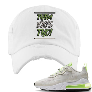 Air Max 270 React Ghost Green Sneaker White Distressed Dad Hat | Hat to match Nike Air Max 270 React Ghost Green Shoes | Them 270 Tho