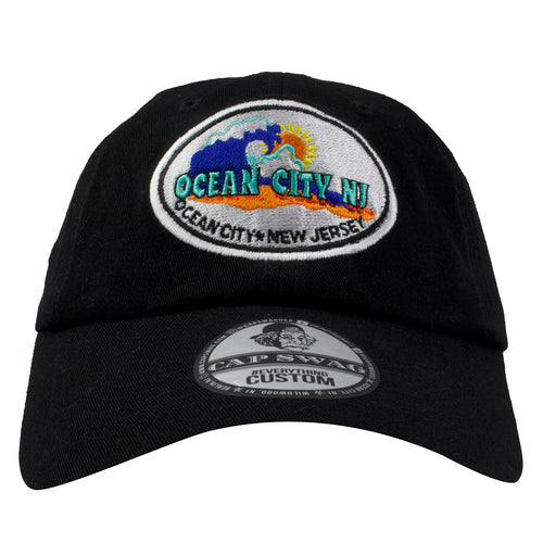 Embroidered on the front of the Ocean City NJ black dad hat is the Ocean City New Jersey logo
