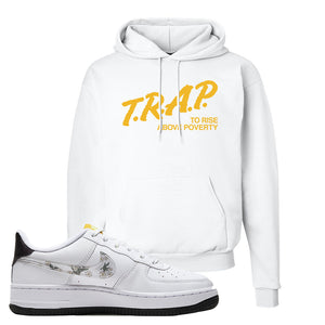 Air Force 1 Hoodie | White, Trap To Rise Above Poverty