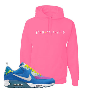 Undefeated x Air Max 90 Pacific Blue Sneaker Neon Pink Pullover Hoodie | Hoodie to match Undefeated x Nike Air Max 90 Pacific Blue Shoes | Homies