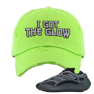 Yeezy Boost 700 V3 Alvah Sneaker Neon Green Distressed Dad Hat | Hat match Adidas Yeezy Boost 700 V3 Alvah Shoes | I Got The Glow