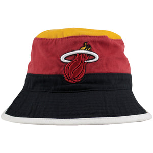 Miami Heat Throwback Logo Striped Mitchell and Ness Bucket Hat