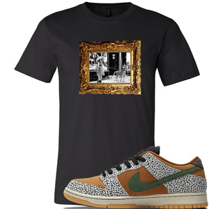 SB Dunk Low Safari Sneaker Black T Shirt | Tees to match Nike SB Dunk Low Safari Shoes | Pet Cheetah