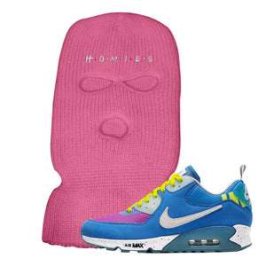 Undefeated x Air Max 90 Pacific Blue Sneaker Neon Pink Ski Mask | Winter Mask to match Undefeated x Nike Air Max 90 Pacific Blue Shoes | Homies