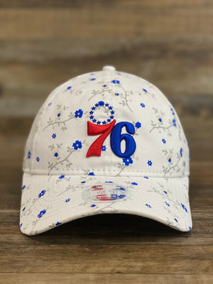 Front of Philadelphia 76ers female floral dad hat  blossom spring flower print 920 DAD HAT | New era female dad hat