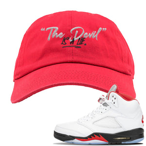 Air Jordan 5 OG Fire Red Dad Hat | Red, Devil Is A Lie