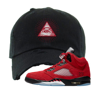 Air Jordan 5 Raging Bull Distressed Dad Hat | All Seeing Eye, Black