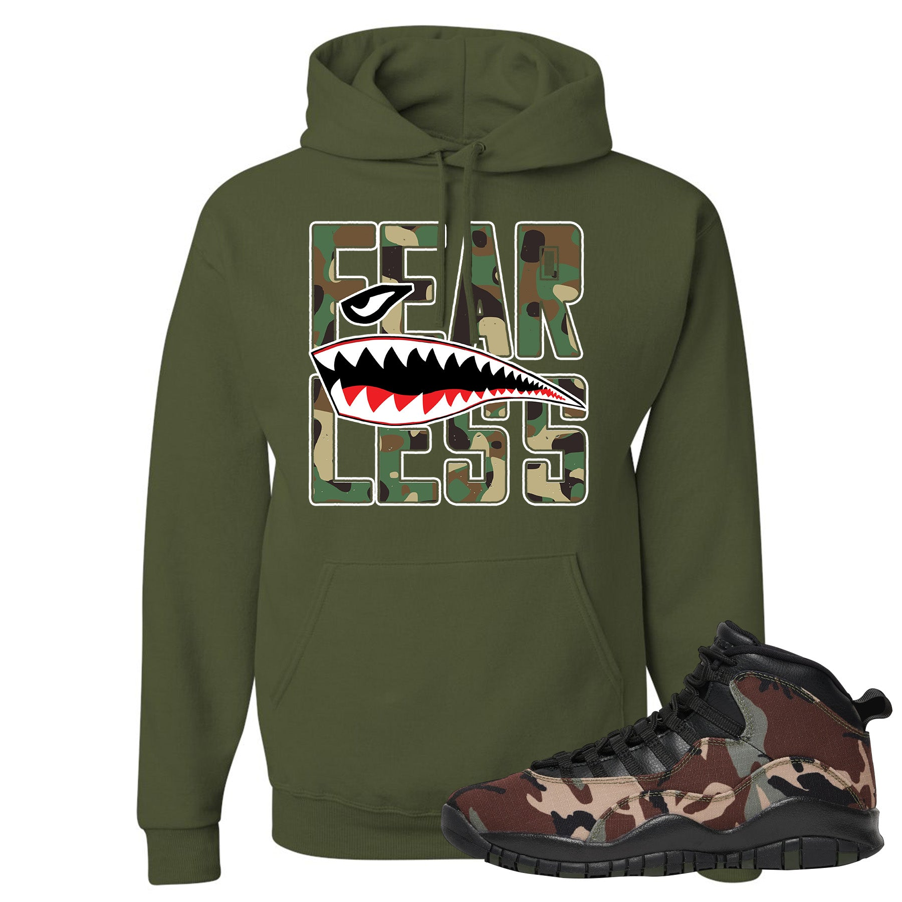 new products 3192f f660c Jordan 10 Woodland Camo Sneaker Matching Fearless Military Green Pullover  Hoodie