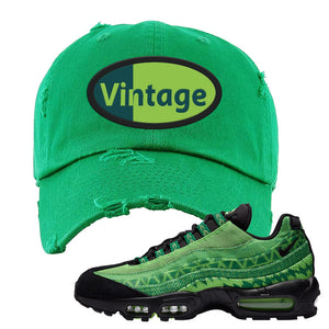Air Max 95 Naija Distressed Dad Hat | Vintage Oval, Kelly Green