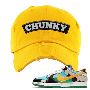 SB Dunk Low 'Chunky Dunky' Distressed Dad Hat | Gold, Chunky