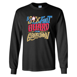 Six Foot Guard From Georgetown Long Sleeve T-Shirt | Allen Iverson Black Longsleeve Tee Shirt the front of this long sleeve has the six foot guard design