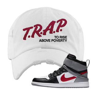 Air Jordan 1 Flyease Distressed Dad Hat | White, Trap To Rise Above Poverty