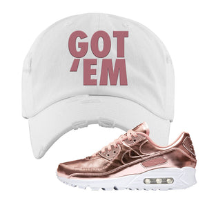 Air Max 90 WMNS 'Medal Pack' Rose Gold Sneaker White Distressed Hat | Hat to match Nike Air Max 90 WMNS 'Medal Pack' Rose Gold Shoes | Got Em