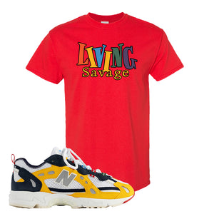 827 Abzorb Multicolor Yellow Aime Leon Dore Sneaker Red T Shirt | Tees to match 827 Abzorb Multicolor Yellow Aime Leon Dore Shoes | Living Savage