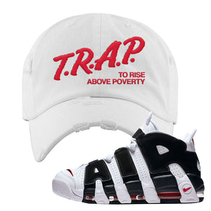 Air More Uptempo White Black Red Distressed Dad Hat | White, Trap To Rise Above Poverty