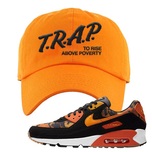 Air Max 90 Orange Camo Dad Hat | Trap To Rise Above Poverty, Orange