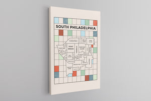 South Philly Map Canvas | South Philadelphia Map Natural Wall Canvas the front of this canvas has the south philly map