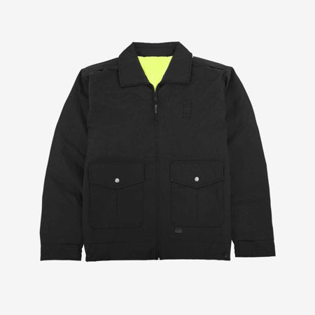 the Police Public Safety | Reversible Black Uniform Bomber Jacket | Waterproof Scotchlite Reflective Safety Green and Black Rain Jacket has patch pockets and a neon yellow reverse side lining