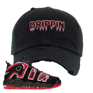 Air More Uptempo Laser Crimson Distressed Dad Hat | Black, Drippin