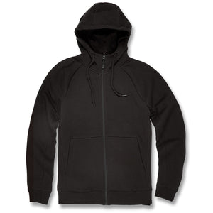 the black jordan craig fleece hoodie has a black zip up and black adjustable strings