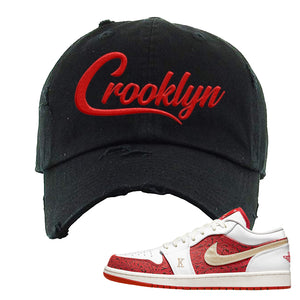 Air Jordan 1 Low Spades Distressed Dad Hat | Crooklyn, Black