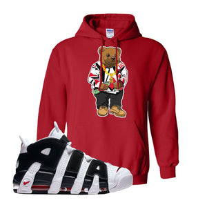 Air More Uptempo White Black Red Hoodie | Red, Sweater Bear