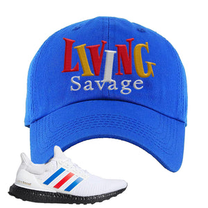 Ultra Boost White Red Blue Dad Hat | Royal Blue, Living Savage