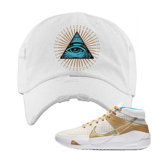 KD 13 EYBL Distressed Dad Hat | All Seeing Eye, White