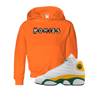 Playa From the Himalaya Safety Orange Kid's Pullover Hoodie to match Air Jordan 13 GS Playground Kids