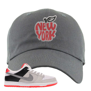 Nike SB Dunk Low Infrared Orange Label New York Apple Dark Gray Dad Hat To Match Sneakers