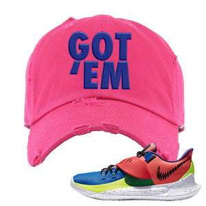 Kyrie Low 3 NY vs NY Distressed Dad Hat | Got Em, Pink