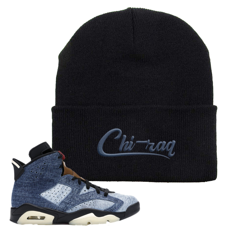 Jordan 6 Washed Denim Beanie | Black, Chiraq
