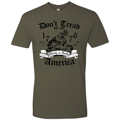 Standard Issue Don't Tread On Me Snake with Skull Military Green Grunt Life T-Shirt