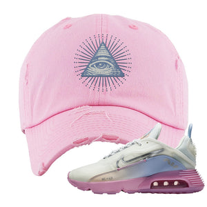 Air Max 2090 Airplane Travel Distressed Dad Hat | All Seeing Eye, Light Pink