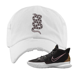Kyrie 7 Ripple Black Distressed Dad Hat | Coiled Snake, White