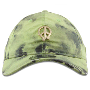 1990s Dripping Gold Peace Sign Pin Acid Wash Tie-Dye Green 9Twenty Dad Hat