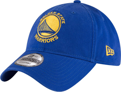 embroidered on the front of the golden state warriors dad hat is the golden state warriors logo in yellow and blue