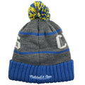 the back of the San Diego Chargers Mitchell and Ness thick knit beanie is the Mitchell and Ness logo embroidered in white