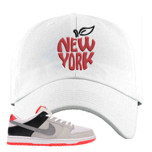 Nike SB Dunk Low Infrared Orange Label New York Apple White Dad Hat To Match Sneakers