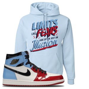 Air Jordan 1 Fearless Limits Light Blue Made to Match Pullover Hoodie