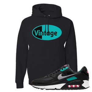 Air Max 90 Black New Green Hoodie | Vintage Oval, Black