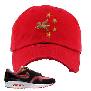 Air Max 1 NYC Chinatown Pegasus With Chinese Stars Red Distressed Dad Hat To Match Sneakers