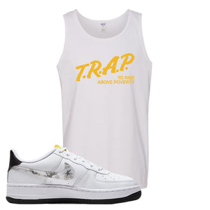 Air Force 1 Tank Top | White, Trap To Rise Above Poverty