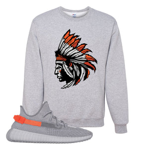 Yeezy Boost 350 V2 Tail Light Sneaker Ash Crewneck Sweatshirt | Crewneck to to match Adidas Yeezy Boost 350 V2 Tail Light Shoes | Indian Chief