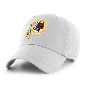 Embroidered on the front of the redskins dad hat is the Redskins logo in red, white, and yellow