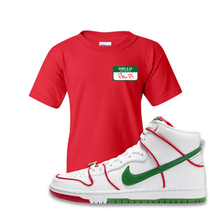 Paul Rodriguez's Nike SB Dunk High Sneaker Red Kid's T Shirt | Kid's Tees to match Paul Rodriguez's Nike SB Dunk High Shoes | Hello My Name Is Papi