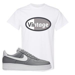 Air Force 1 Low Wolf Grey White T Shirt | White, Vintage Oval