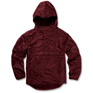 the maroon bordeaux wine anorak jacket is made out of a premium maroon colored material