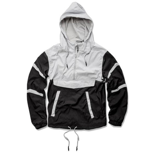 the black and white anorak jacket from jordan craig is black with white accents on the sleeves and upper body