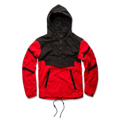 the black and red jordan craig anorak jacket is red with black accents, a black hood and  black zipper on the front chest